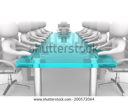 3D men sitting at a table and having business meeting - 3d render illustration  - stock photo
