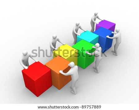 3d men with cubes. Teamwork. this is 3d render illustration - stock photo