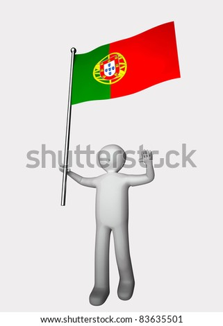 3d men with flag of Portugal.