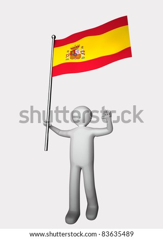 3d men with flag of Spain.