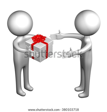 3d Men with gift box tied ribbon with a bow, isolated on white background.