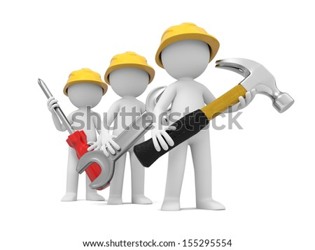 3 3d men with hammer, wrench, and screwdriver