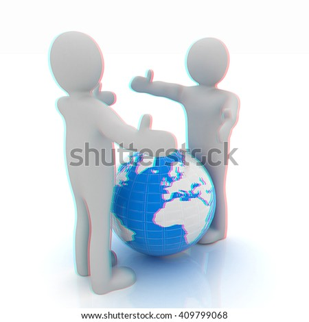 3d mens around the earth kindly make contact. 3D illustration. Anaglyph. View with red/cyan glasses to see in 3D. - stock photo