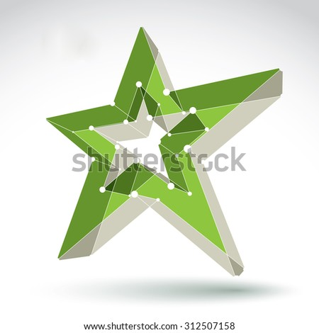 3d mesh green star sign isolated on white background, colorful elegant lattice superstar icon. Three-dimensional tech pentagonal object with white connected lines - stock photo