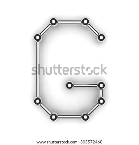 "3d metal alphabet letter - ""G"" - stock photo"