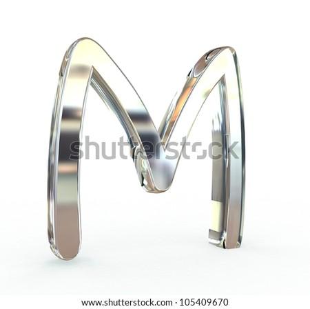 3d metal alphabet symbol.(isolated.) - stock photo