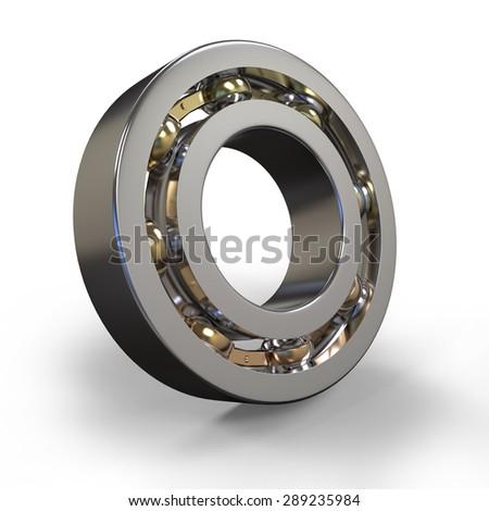 3d metal ball bearing on white background  - stock photo