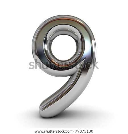 3D metal cartoon number isolated - stock photo