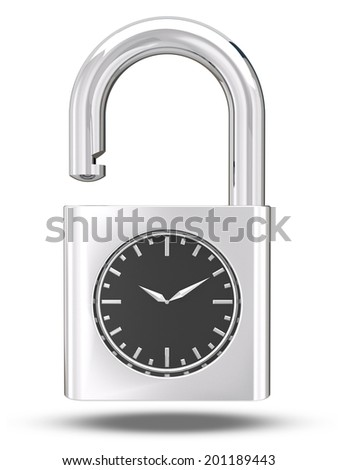 3d metal chrome analog Clock Key concept with clipping path