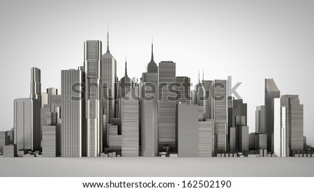 3d metal city, studio version - stock photo