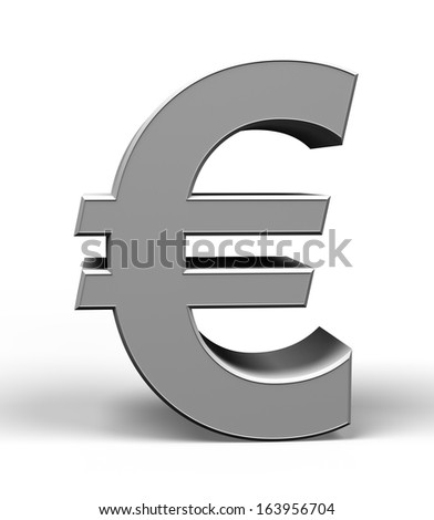3d metal euro symbol on a white background