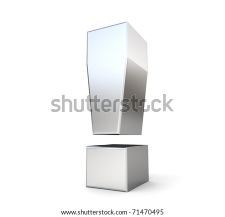 3d metal exclamation point - stock photo