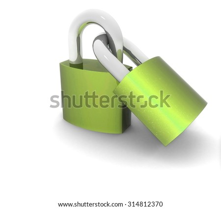 3d metal locks on a white background - stock photo