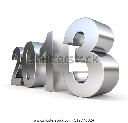 3d metal new year 2013 - stock photo