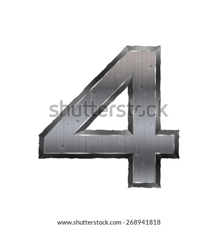 3d metal number 4 isolated on white background