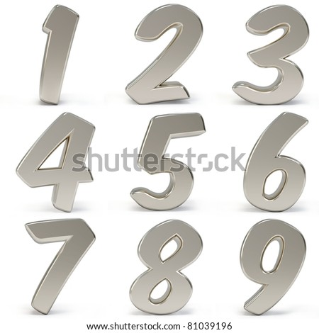 3d metal numbers isolated on white background - stock photo