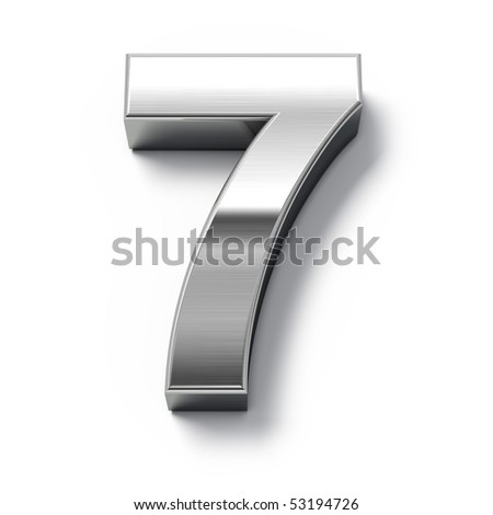 3d Metal numbers - number 7 - stock photo