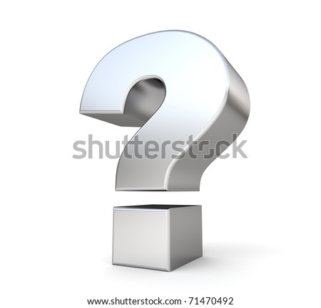 3d metal question mark - stock photo