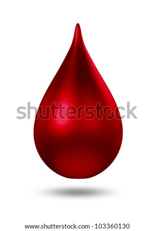 3D metal red droplet. isolated