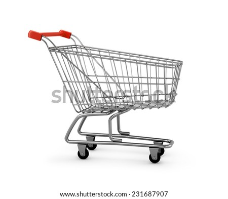 3d metal shopping cart on the isolated white background