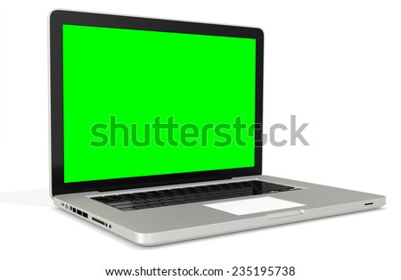 3d metal silver office notebook with green screen on white background - stock photo