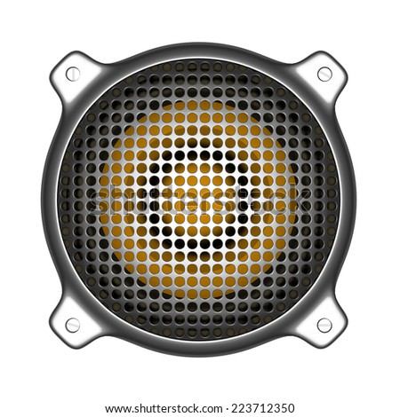 3d metal speaker with grill sound system deejay DJ tools - stock photo