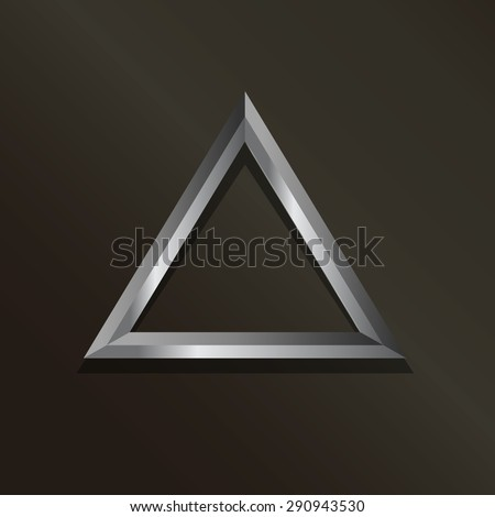 3D Metal triangle - stock photo
