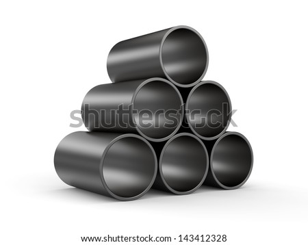 3d metal tubes - stock photo