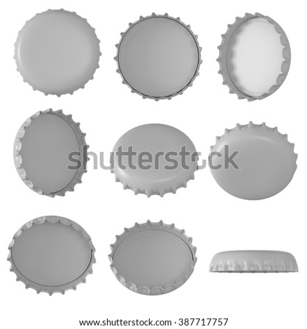 3d Metallic Bottle Caps , Different angles , Isolated on white