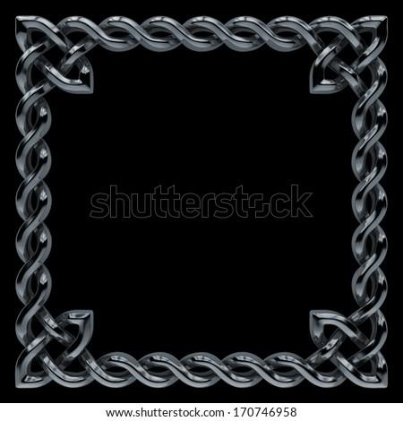3d metallic Celtic frame border, banner design element isolated on black - stock photo