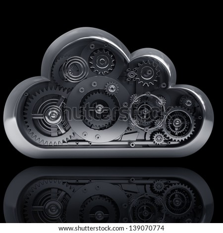 3d metallic cloud with gears box isolated on black background. High resolution - stock photo