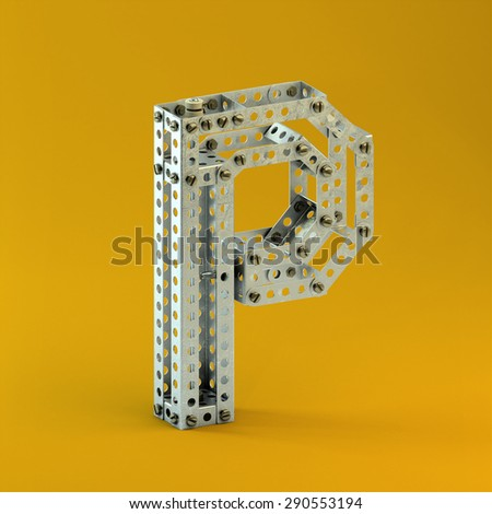 3d metallic constructor  font  letter P - stock photo