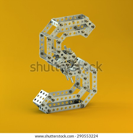 3d metallic constructor  font  letter S - stock photo