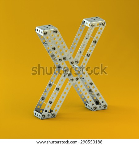 3d metallic constructor  font  letter X - stock photo