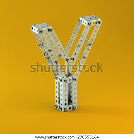 3d metallic constructor  font  letter Y - stock photo