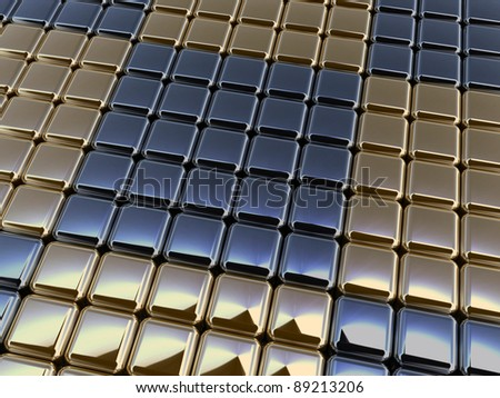 3d metallic cubic background - stock photo