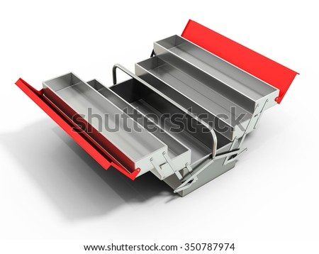 3d metallic empty toolbox on white background - stock photo