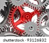 3d metallic gears background. Work concept. - stock vector
