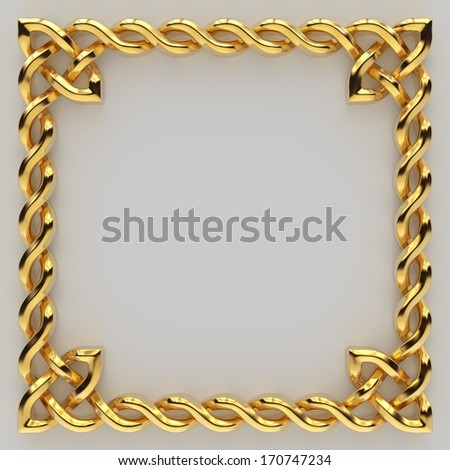 3d metallic gold Celtic frame border, banner design element isolated  - stock photo