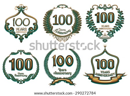 3D metallic green gold 100 year anniversary badge set on isolated white background. - stock photo