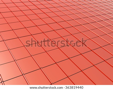 3d metallic roof tiles of red color - stock photo