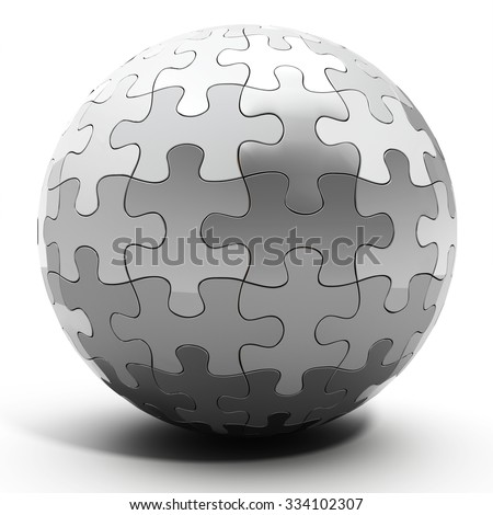 3d metallic spherical puzzle on white background