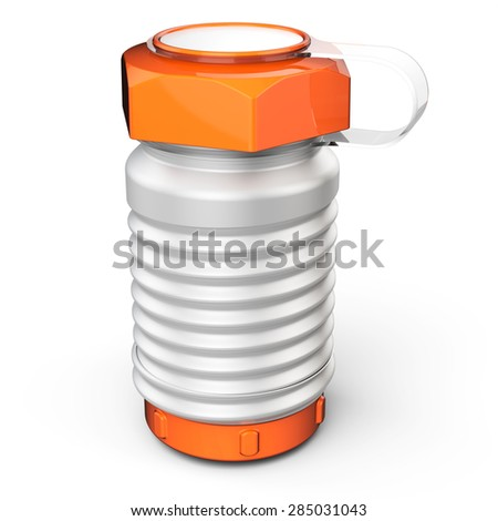 3d  metallic sports water bottle on white background