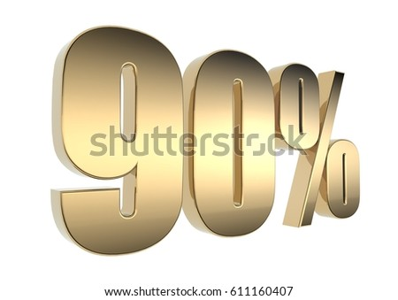 3D Metallic Text render of discount percentage sales for business