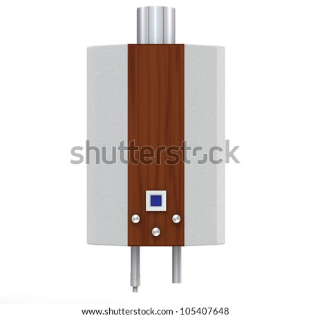 3d metallic with wooden plank gas heater on a white background - stock photo