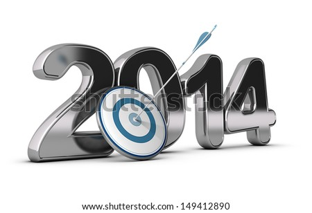 3D metallic Year 2014 with a target at the foreground with an arrow hitting the center, concept image for achieving business objectives  - stock photo