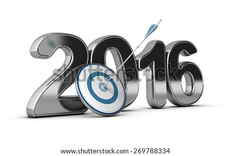 3D metallic Year 2016 with a target at the foreground with an arrow hitting the center, concept image for achieving business objectives in two thousand sixteen.  - stock photo