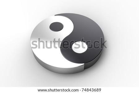 3D metallic Yin Yang asian symbol over white background - stock photo