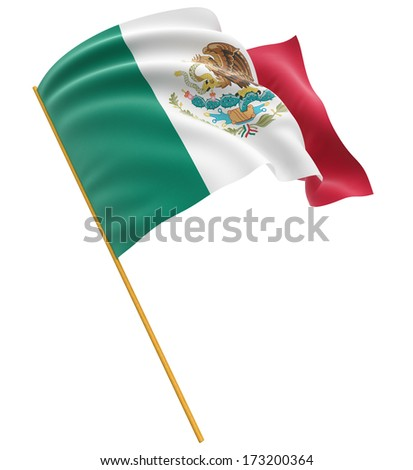 3D Mexican flag  (clipping path included) - stock photo
