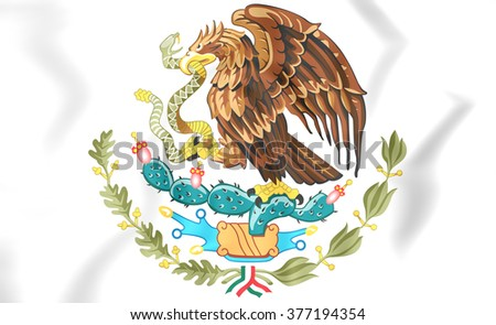 3D Mexico Coat of Arms. Close Up.    - stock photo